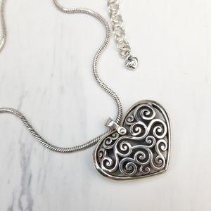 Brighton Puffy Heart Silver Filigree Necklace
